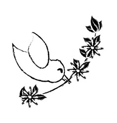 Bird branch flower romance sketch vector