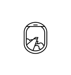 Black and white airplane window icon vector