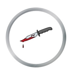 Bloody knife icon in cartoon style isolated on vector image