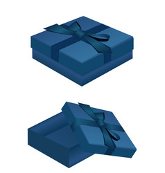 Blue gift box for jewelry open and closed vector