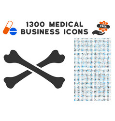bones icon with 1300 medical business icons vector image
