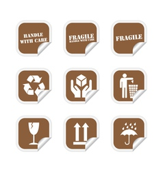 Brown fragile stickers vector