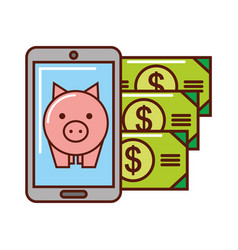 business piggy bank money banknote smartphone vector image