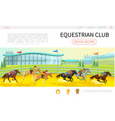 cartoon equestrian competition web page template vector image