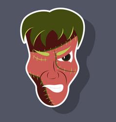 Cartoon evil frankenstein head sticker vector