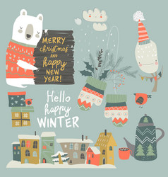 Cartoon set with animals and christmas elements vector