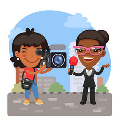 Cartoon videographer and journalist vector