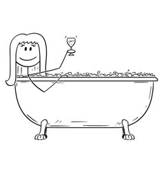 Cartoon woman relaxing in batch tub with glass vector