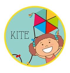 Child flying kite vector