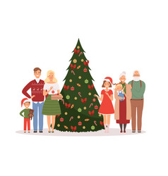 christmas family mother father kids vector image