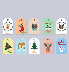 christmas tags set with forest animals and items vector image