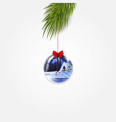 christmas tree branch with cute shining ball vector image