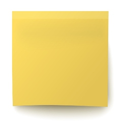 Classic yellow sticky note isolated on white vector image