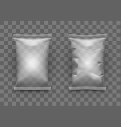 Clear white pillow full bag packaging with shadow vector