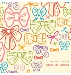 colorful bows frame corner pattern background vector image