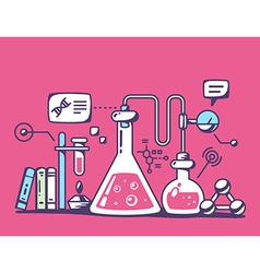 Colorful chemical laboratory flasks on re vector