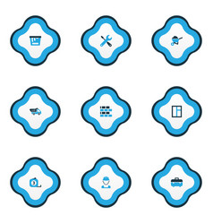 construction icons colored set with tipper vector image