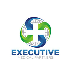 cross medical service for global health care logo vector image