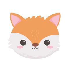 cute little fox face animal cartoon isolated white vector image