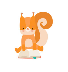cute squirrel reading book adorable smart animal vector image