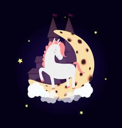 Cute unicorn on moon with dream castle night sky vector