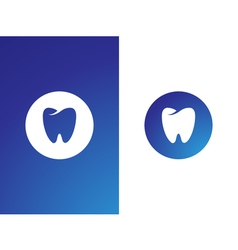 Dentist logo set for company on while blue vector image