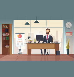 director office interior businessman sitting at vector image