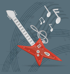 Electric guitar with musical notes vector