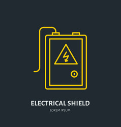 Electrical shield flat line icon high voltage vector