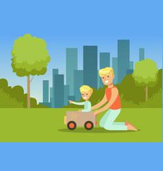 father and his son playing with toy car in city vector image