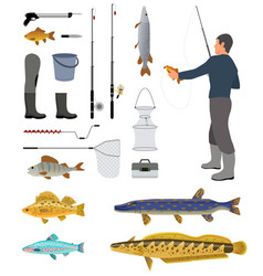 Fishing equipment and fisher with haul banner vector