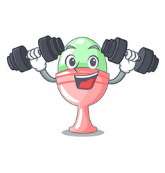 Fitness boiled egg cup isolated on mascot vector