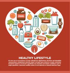 fitness healthy food heart poster of sport diet vector image