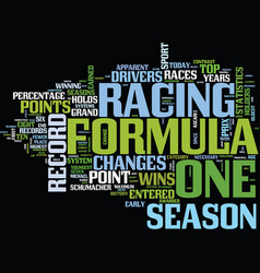 formula one records show changes in sport text vector image