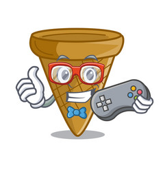 Gamer empty wafer cone for ice cream character vector
