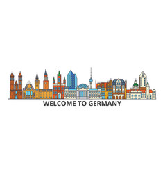 Germany outline skyline german flat thin line vector