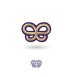 Gold metallic butterfly symbol double b vector