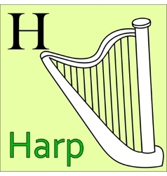 H letter alphabet Coloring book harp vector