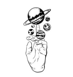 hand drawn of hand with planets sun and moon vector image