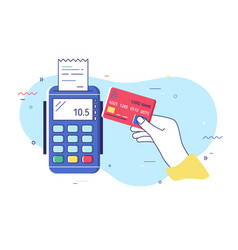Hand holding debit or credit card waving it over vector