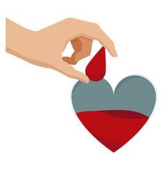 hand holding drop blood heart donate campaign vector image vector image
