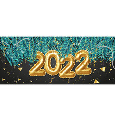 Happy new year 2022 banner gold foil balloons vector