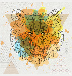 hipster polygonal animal bear vector image