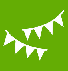 Holiday flags icon green vector