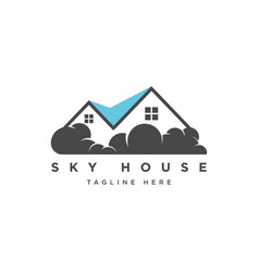 House with cloud logo design t vector