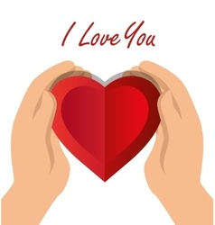 i love you hand hold heart with shadow icon vector image