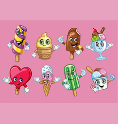 ice cream cartoon character vector image
