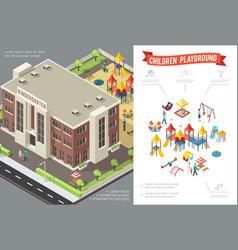 isometric children playground concept vector image