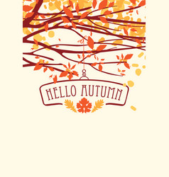 landscape with autumn leaves on branches of trees vector image