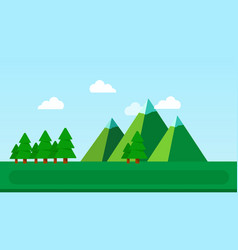 landscape with mountains and spruce flat isolated vector image